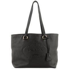 Prada Embossed Logo Tote Vitello Daino Medium