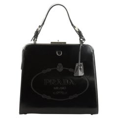 Prada Frame Handle Bag Spazzolato Leather Small