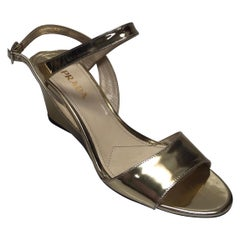 PRADA Gold Patent Leather Ankle Strap Wedge - 38