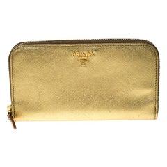 Prada Gold Saffiano Metal Leather Zip Around Wallet