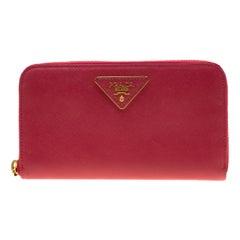 Prada Hot Pink Saffiano Leather Zip Around Wallet