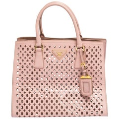 Prada Light Pink Cutout Saffiano Leather and PVC Tote