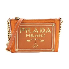 Prada Logo Chain Crossbody Bag Tessuto and Saffiano Leather Small