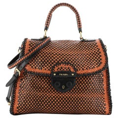 Prada Madras Convertible Satchel Woven Leather