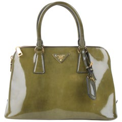 Prada Military Green Patent Leather Promenade Handbag