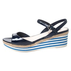 Prada Navy Blue Patent Leather Platform Stripe Wedge Ankle Strap Sandals Size 40