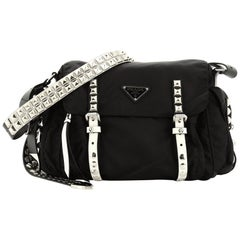 Prada New Vela Flap Messenger Bag Tessuto with Studded Leather Medium