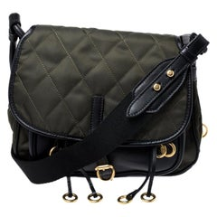 Prada Olive Green/Black Nylon and Leather Passaminiere Hunting Shoulder Bag