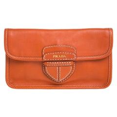 Prada Orange Leather City Clutch