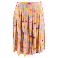 Prada Pastel Lip Print Pleated Skirt XXS 38