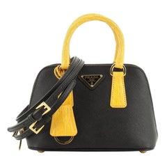 Prada Promenade Bag Saffiano Leather with Crocodile Mini