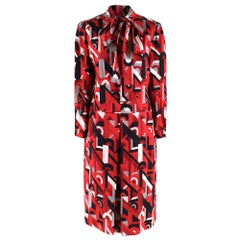 Prada Red Geometric Printed Pussy Bow Dress XXS