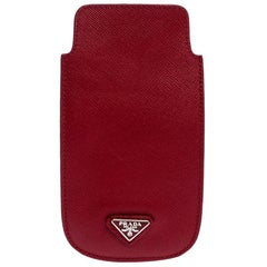 Prada Red Saffiano Leather iPhone Case