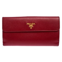Prada Red Saffiano Lux Leather Flap Continental Wallet