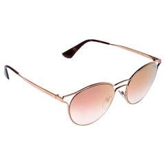 Prada Rose Gold SPR 62S Mirror Cinema Round Sunglasses