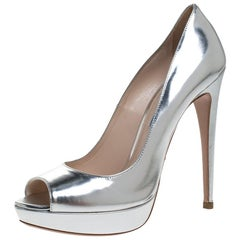 Prada Silver Metallic Leather Peep Toe Platform Pumps Size 39