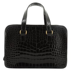 Prada St. Cocco Lucido Bauletto Handle Bag Crocodile Embossed Leather