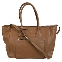Prada Tan Leather Vitello Phenix Tote Shoulder Bag BN2795