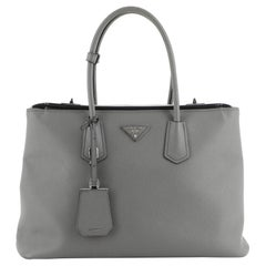 Prada Turnlock Cuir Twin Tote Saffiano Leather Medium