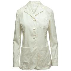 Prada White Long Sleeve Lightweight Blazer