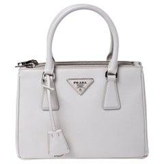 Prada White Saffiano Lux Leather Mini Double Zip Tote