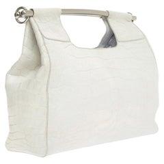Prada White XL Size Exotic Alligator Skin Bag Tote Hand Bag