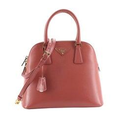 Prada Zip Around Convertible Dome Satchel Vernice Saffiano Leather North