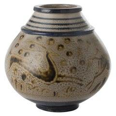 Primavera, Art Deco Glazed Ceramic Vase, France, circa 1928