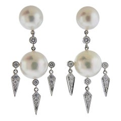 Prince Dmitri South Sea Pearl Diamond Gold Drop Earrings