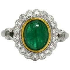 Emerald Diamond Engagement Ring Cocktail Cabochon Gemstone Oval