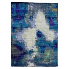 Pure Sari Silk Abstract Design Hand Knotted Oriental Rug