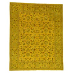 Pure Wool Hand-Knotted Overdyed Golden Brown Oriental Rug