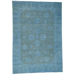 """Pure Wool Silver Wash Peshawar Hand-Knotted Persian Rug, 10'0""""x14'3"""""""