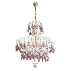 Purple Crystal Chandelier Antique Ceiling Murano Florentiner Lustre Art Nouveau