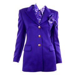 Purple Escada Rabbit Fur Blazer & Animal Print Silk Blouse & Pocket Square
