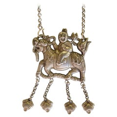 Qilin Amulet Necklace, Silver Alloy, Southwest China, Early 20th Century