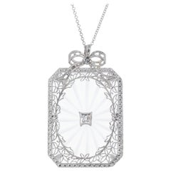 Quartz Diamond Filigree Pendant Necklace
