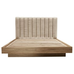 Queen Channel Tufted Linen and Walnut Capitan Bed by Lawson-Fenning, in Stock