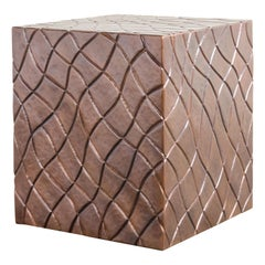 Quilt Square Drumstool in Copper by Robert Kuo, Hand Repousse