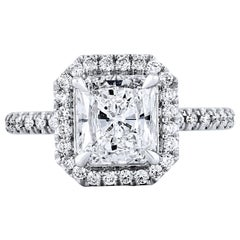 H&H GIA Certified 1.86 Carat Radiant Cut Diamond Platinum Engagement Ring