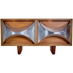 Raphaël Midcentury Stainless Steal and Oakwood French Credenzas, 1973