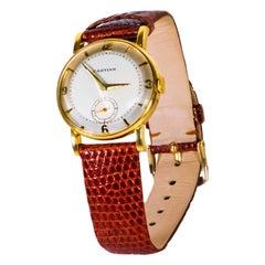 Rare 1940-50s 18k Cartier EWC 2tone Enamel & Satin Silver Sector Dial Wristwatch