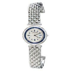 1990s Van Cleef Arpels 18k Gold Pave Diamond Dial & Sapphire Bracelet Watch