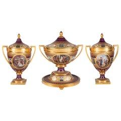 Rare 19th Century Vienna Style Porcelain Garniture of Three Large Lidded Vases