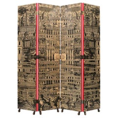 """Rare and Early 1950s """"Reflecting City"""" Folding Screen by Piero Fornasetti"""