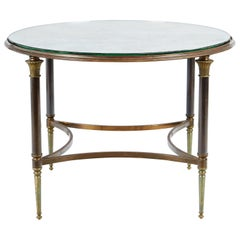 Rare and Signed Jansen 1950s Gilded Bronze and Brass Occasional Table