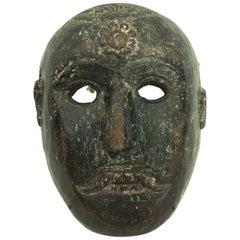 Rare Antique Himalayan Carved Wood Dancing Mask