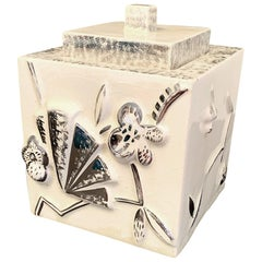 Rare Art Deco Lidded Box with Floral and Geometric Motifs, Silver and Ivory Hues