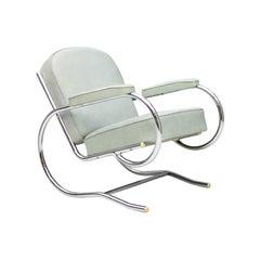 Rare Batistin Spade Tubular Lounge Chair, France, 1930s