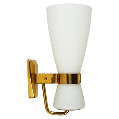 """Rare Big Brass and Glass Yellow Label """"2118"""" Sconce by Stilnovo, 1959"""